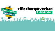 Bild om eMedborgarveckan som passar formatet som huvudbild på en Facebooksida eller i en Facebookgrupp