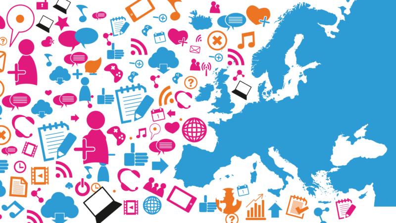 ALL DIGITAL Week - bild med Europa och symboler