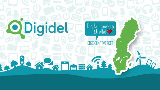 Grafik som visar en Sverigekarta och digitala symboler