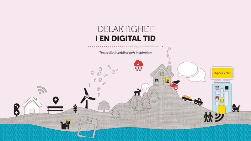 Illustrerat omslag till publikationen Delaktighet i en digital tid.