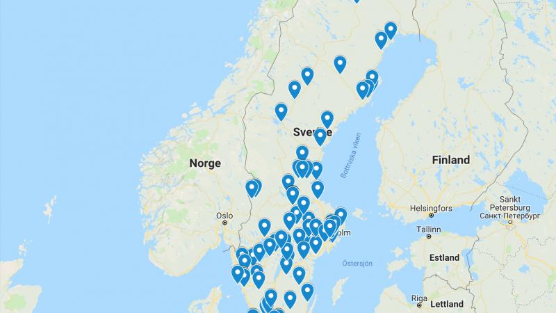 Karta över Sverige med arrangemang under eMedborgarveckan