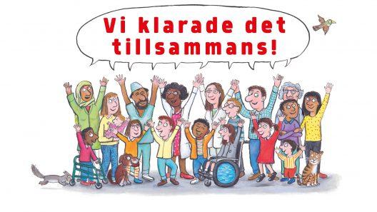 """En tecknad bild av en samling barn som sträcker upp händerna och en pratbubbla med texten """"Vi klarade det tillsammans""""."""