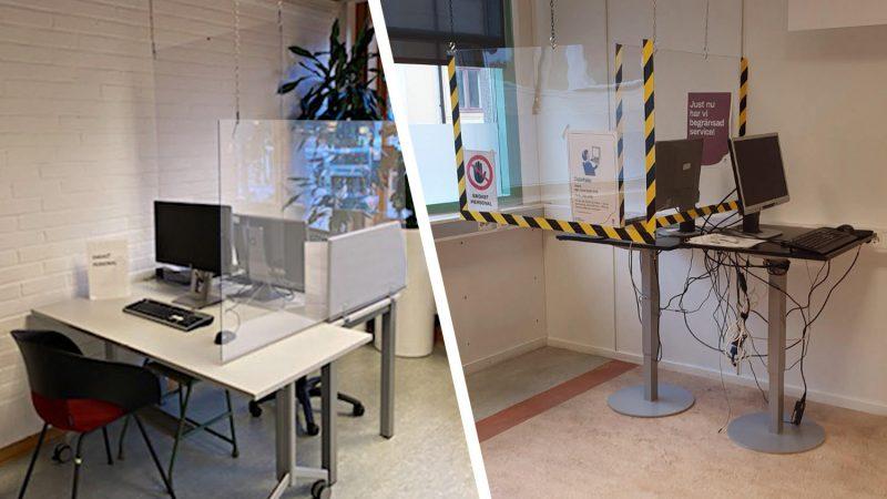 Två exempel på hur två skärmar kopplats till samma dator med plexiglas emellan.