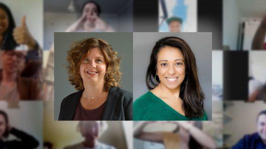 Ett collage med bilder, med Maria Nordmark och Tine Youssef i mitten.